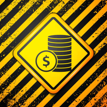 Black Coin money with dollar symbol icon isolated on yellow background. Banking currency sign. Cash symbol. Warning sign. Vector Illustration.