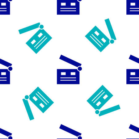 Blue Movie clapper icon isolated seamless pattern on white background. Film clapper board. Clapperboard sign. Cinema production or media industry. Vector Illustration