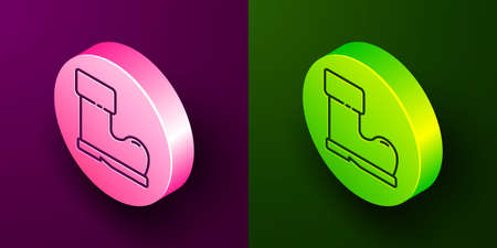 Isometric line Waterproof rubber boot icon isolated on purple and green background. Gumboots for rainy weather, fishing, gardening. Circle button. Vector Illustration