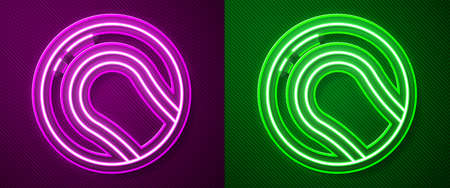 Glowing neon line Baseball ball icon isolated on purple and green background. Vector Illustration
