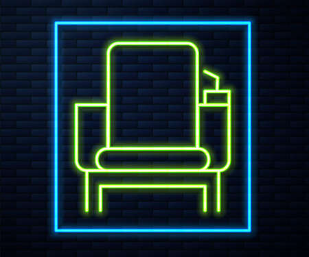 Glowing neon line Cinema chair icon isolated on brick wall background. Vector Illustration.