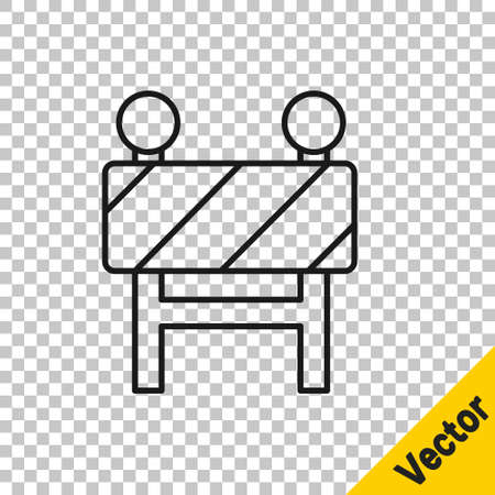 Black line Road barrier icon isolated on transparent background. Symbol of restricted area which are in under construction processes. Repair works. Vector Illustration