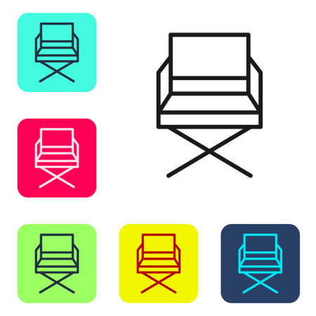 Black line Director movie chair icon isolated on white background. Film industry. Set icons in color square buttons. Vector Illustration