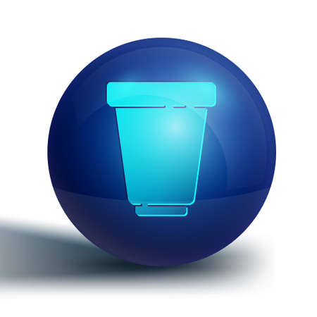 Blue Water filter cartridge icon isolated on white background. Blue circle button. Vector Illustration