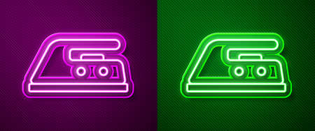 Glowing neon line Electric iron icon isolated on purple and green background. Steam iron. Vector Illustration. Vecteurs
