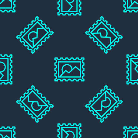 Green line Postal stamp icon isolated seamless pattern on blue background. Vector Illustration