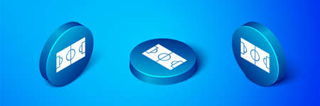 Isometric Football or soccer field icon isolated on blue background. Blue circle button. Vector Illustration.