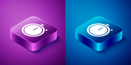 Isometric Stopwatch icon isolated on blue and purple background. Time timer sign. Chronometer sign. Square button. Vector Illustration. Illusztráció
