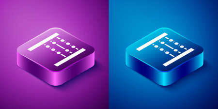 Isometric Abacus icon isolated on blue and purple background. Traditional counting frame. Education sign. Mathematics school. Square button. Vector Illustration