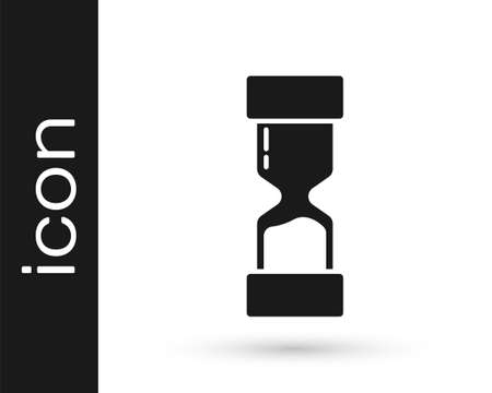 Grey Old hourglass with flowing sand icon isolated on white background. Sand clock sign. Business and time management concept. Vector Illustration Illusztráció