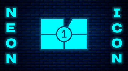 Glowing neon Old film movie countdown frame icon isolated on brick wall background. Vintage retro cinema timer count. Vector Illustration. Vectores
