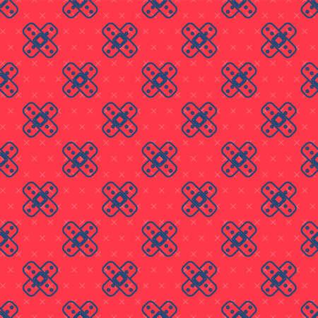 Blue line Crossed bandage plaster icon isolated seamless pattern on red background. Medical plaster, adhesive bandage, flexible fabric bandage. Vector Illustration
