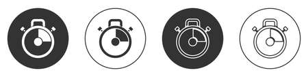Black Stopwatch icon isolated on white background. Time timer sign. Chronometer sign. Circle button. Vector Illustration.