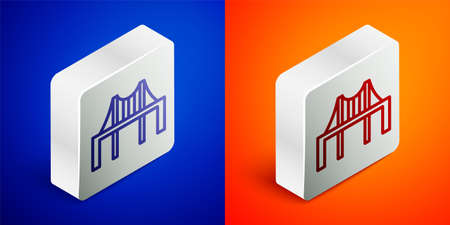 Isometric line Golden gate bridge icon isolated on blue and orange background. San Francisco California United States of America. Silver square button. Vector Illustration