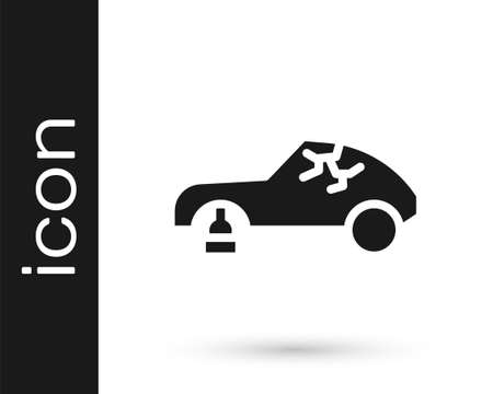 Grey Broken car icon isolated on white background. Car crush. Vector Illustration