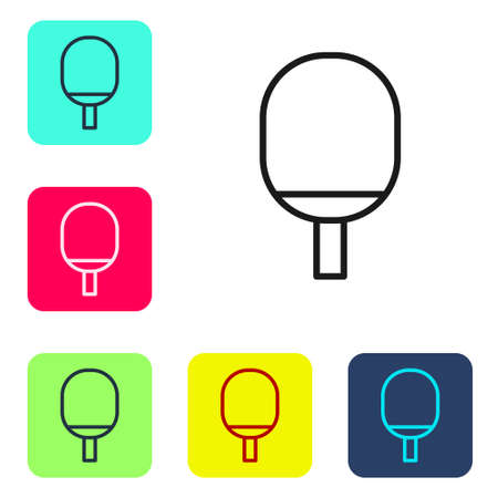 Black line Racket for playing table tennis icon isolated on white background. Set icons in color square buttons. Vector Illustration Vectores