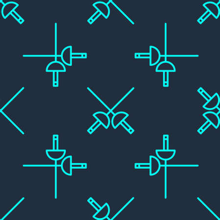 Green line Fencing icon isolated seamless pattern on blue background. Sport equipment. Vector Illustration