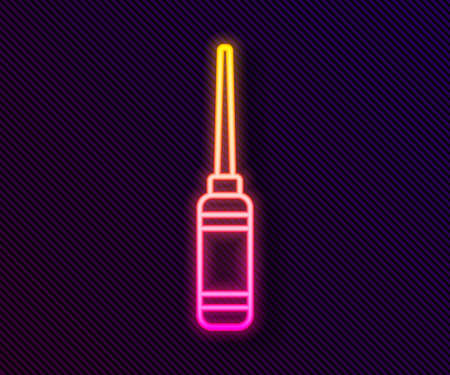 Glowing neon line Awl tool with wooden handle icon isolated on black background. Work equipment tailor industry. Vector Illustration