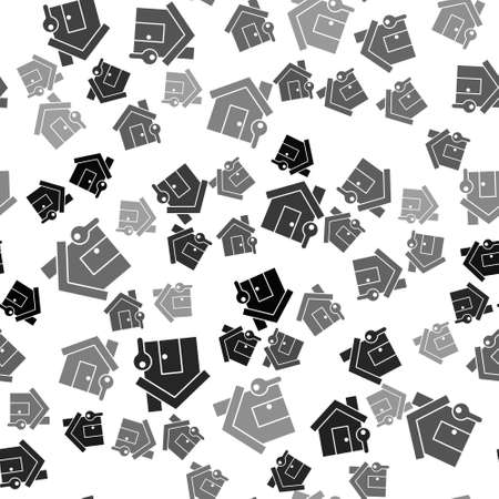 Black House with key icon isolated seamless pattern on white background. The concept of the house turnkey. Vector Illustration
