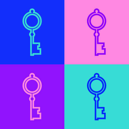 Pop art line Old key icon isolated on color background. Vector Illustration