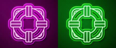 Glowing neon line Lifebuoy icon isolated on purple and green background. Lifebelt symbol. Vector Illustration Illustration