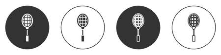 Black Tennis racket icon isolated on white background. Sport equipment. Circle button. Vector Illustration.
