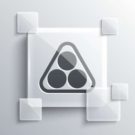 Grey Billiard balls in a rack triangle icon isolated on grey background. Square glass panels. Vector Illustration.