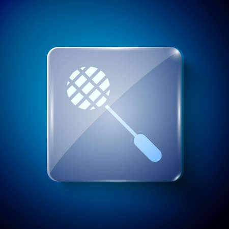 White Tennis racket icon isolated on blue background. Sport equipment. Square glass panels. Vector Illustration.