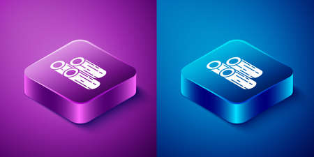 Isometric Wooden logs icon isolated on blue and purple background. Stack of firewood. Square button. Vector Illustration Banque d'images - 149132556