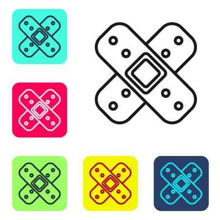 Black line Crossed bandage plaster icon isolated on white background. Medical plaster, adhesive bandage, flexible fabric bandage. Set icons in color square buttons. Vector Illustration Ilustração