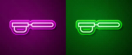Glowing neon line Coffee filter holder icon isolated on purple and green background. Vector Illustration.