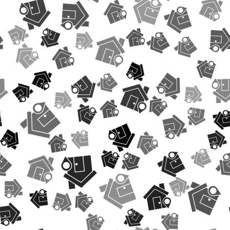 Black Map pointer with house icon isolated seamless pattern on white background. Home location marker symbol. Vector Illustration.
