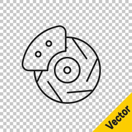 Black line Car brake disk with caliper icon isolated on transparent background. Vector Illustration. Vectores