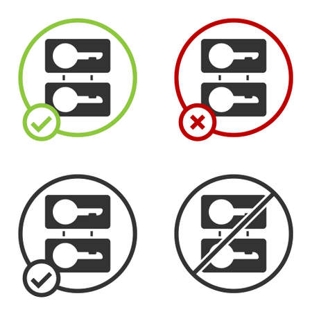 Black Metal mold plates for casting keys icon isolated on white background. Set for mass production and forgery of the keys. Circle button. Vector Illustration.