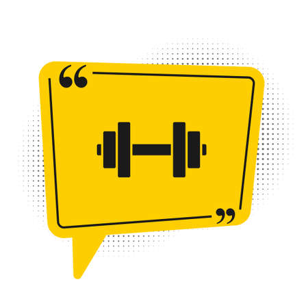 Black Dumbbell icon isolated on white background. Muscle lifting icon, fitness barbell, gym, sports equipment, exercise bumbbell. Yellow speech bubble symbol. Vector Illustration