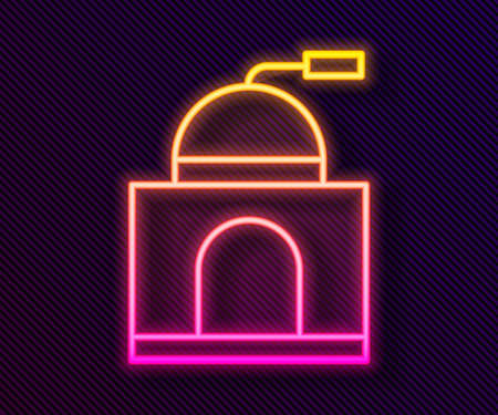 Glowing neon line Manual coffee grinder icon isolated on black background. Vector Illustration Illustration