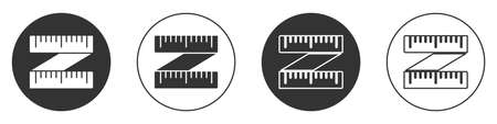 Black Tape measure icon isolated on white background. Measuring tape. Circle button. Vector Illustration