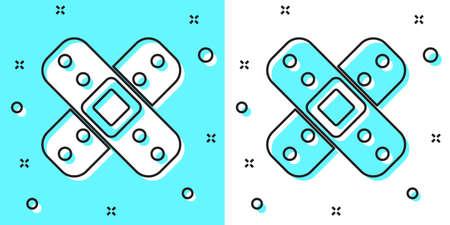 Black line Crossed bandage plaster icon isolated on green and white background. Medical plaster, adhesive bandage, flexible fabric bandage. Random dynamic shapes. Vector Illustration. Ilustração