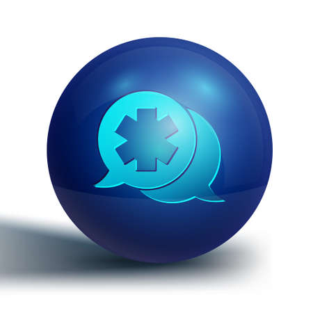 Blue Dialogue with the doctor icon isolated on white background. Doctor and patient dialog. Consulting about medical health services. Blue circle button. Vector Illustration. Иллюстрация