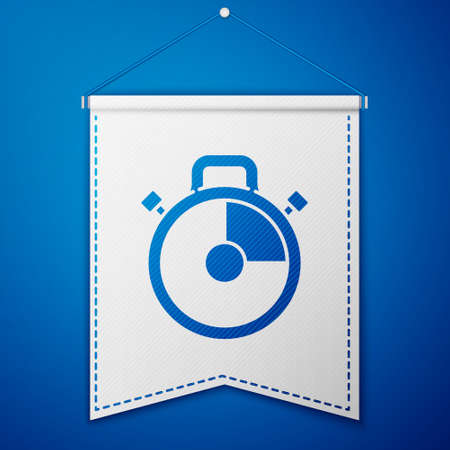 Blue Stopwatch icon isolated on blue background. Time timer sign. Chronometer sign. White pennant template. Vector Illustration.
