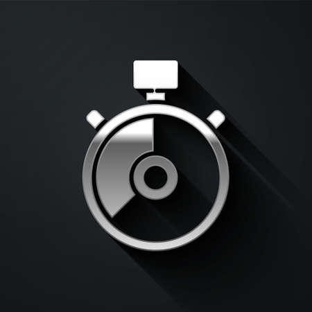 Silver Stopwatch icon isolated on black background. Time timer sign. Chronometer sign. Long shadow style. Vector Illustration. Ilustração