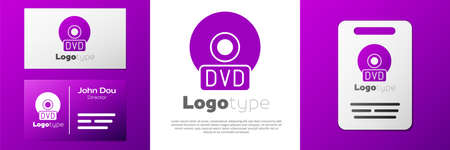Logotype CD or DVD disk icon isolated on white background. Compact disc sign.