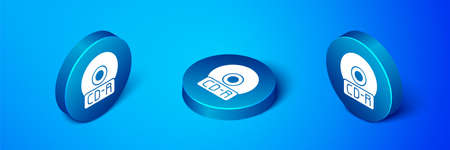 Isometric CD or DVD disk icon isolated on blue background. Compact disc sign. Blue circle button. Vector Illustration.