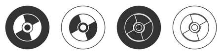 Black CD or DVD disk icon isolated on white background. Compact disc sign. Circle button. Vector Illustration.