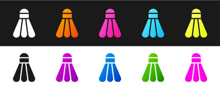 Set Badminton shuttlecock icon isolated on black and white background. Sport equipment. Vector Illustration Vectores