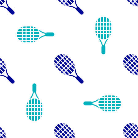 Blue Tennis racket icon isolated seamless pattern on white background. Sport equipment. Vector Illustration