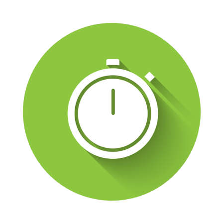 White Stopwatch icon isolated with long shadow. Time timer sign. Chronometer sign. Green circle button. Vector Illustration