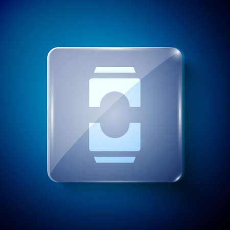 White Beer can icon isolated on blue background. Square glass panels. Vector Illustration