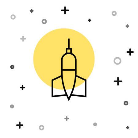 Black line Dart arrow icon isolated on white background. Random dynamic shapes. Vector Illustration