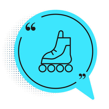 Black line Roller skate icon isolated on white background. Blue speech bubble symbol. Vector Illustration